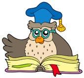 Profesor del buho de la historieta con el libro Imágenes de archivo libres de regalías
