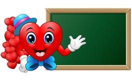 Profesor del corazón del personaje de dibujos animados delante de la pizarra en blanco Foto de archivo