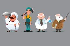Profesor del químico del constructor del cocinero ilustración del vector