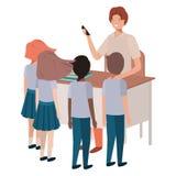 Profesor en la sala de clase con los estudiantes libre illustration