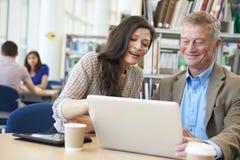 Profesor Helping Mature Student con estudios en biblioteca Fotos de archivo libres de regalías