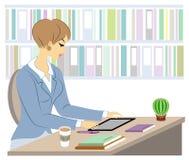 Profesor joven hermoso La muchacha se está sentando en la tabla cerca de la ventana Una mujer escribe en un diario de la clase Il stock de ilustración