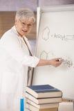 Profesor mayor que explica fórmulas moleculares Fotos de archivo