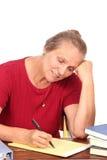 Profesor o programa de escritura feliz Imágenes de archivo libres de regalías