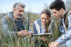 Profesor opowiada ucznie używa pastylkę outdoors Fotografia Stock