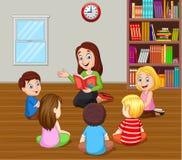 Profesor que cuenta una historia a los niños en la sala de clase ilustración del vector