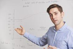Profesor Standing In Front Of Whiteboard Imagen de archivo libre de regalías