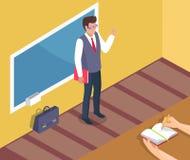 Profesor Standing Near Blackboard en la lección de gramática libre illustration