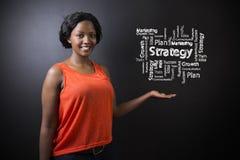 Profesor surafricano o afroamericano o estudiante de la mujer contra diagrama de la estrategia de la pizarra Imagenes de archivo