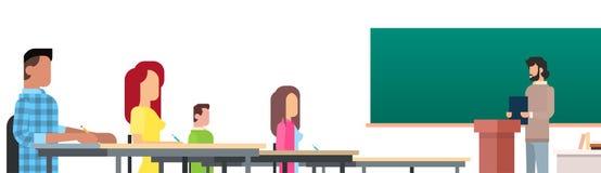 Profesor Uniwersytecki mowy nauczyciela szkoły wyższa Odczytowa klasa, grupa uczni ludzie, Biznesowy konwersatorium ilustracji