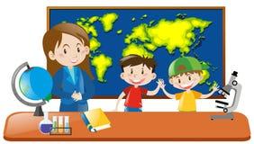 Profesor y dos estudiantes en clase de la geografía ilustración del vector