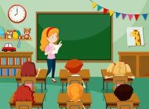 Profesor y estudiantes en classroon libre illustration