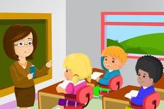 Profesor y estudiantes en sala de clase ilustración del vector