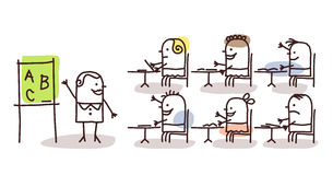 Profesor y niños en la escuela libre illustration