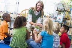 Profesor y niños que miran la planta de semillero Foto de archivo