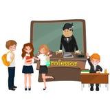 Profesora i ucznia ilustracja dziewczyna i chłopiec z nauczycielem w szkoły wyższa sala lekcyjnej, wektorowy kampusu uniwersytet, Fotografia Stock