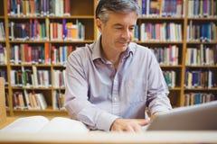 Profesora obsiadanie przy biurkiem używać laptop obraz stock