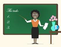 Professeur African American de femme se tenant au tableau noir avec a illustration de vecteur