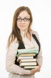 Professeur avec des livres et des carnets photo stock