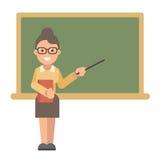 Professeur avec un livre et un indicateur près d'un tableau noir illustration libre de droits