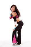Professeur de Zumba dans la pose de danse Photos stock