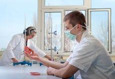 Professeur et étudiant en médecine Images stock