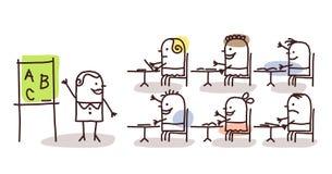 Professeur et enfants à l'école illustration libre de droits
