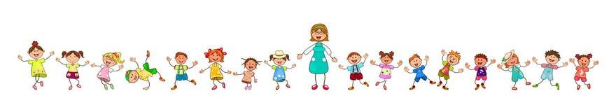 Professeur et enfants heureux pour une promenade kindergarten illustration libre de droits