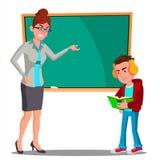 Professeur fâché At The Blackboard, l'enfant au bureau regardant dans le livre avec le vecteur d'écouteurs Illustration d'isoleme illustration de vecteur