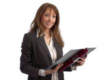Professeur/femme d'affaires attirants avec le cahier Photographie stock