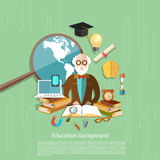 Professeur international d'apprentissage en ligne de leçons d'école d'éducation illustration stock