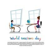 Professeur international Day Holiday Woman avec la leçon d'école d'élève Photographie stock libre de droits
