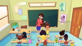Professeur Scolding Pupil dans le vecteur de bande dessinée de classe illustration libre de droits