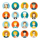 Profession avatar on circles. Set of colorful profession people flat style icons in circles with long shadows vector illustration Stock Photo