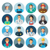 Profession Avatar Flat Icon. Set with chef mechanic policeman isolated vector illustration Stock Photos