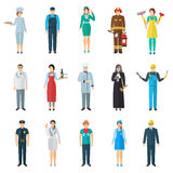 Profession avatar icons set. Profession and job avatar with standing people icons set flat isolated vector illustration Stock Image
