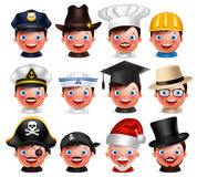 Profession avatar set of happy emoticon heads with different hats Stock Photography