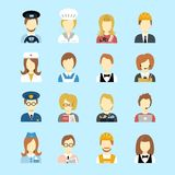 Profession avatar. Set of occupations profession peoples avatar in flat color style vector illustration Stock Images
