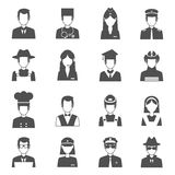 Profession Avatar Set. Professions black avatar set with pilot fireman operator  vector illustration Royalty Free Stock Photo