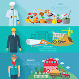 Profession Banner Set. Profession horizontal banner set with cooker farmer architector avatars isolated vector illustration Stock Photos