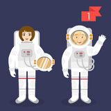 Profession characters: man and woman. Astronaut. Stock Images