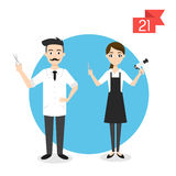 Profession characters: man and woman. Barber and hairdresser Stock Image