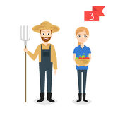 Profession characters: man and woman. Farmer. Stock Photos