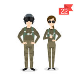 Profession characters: man and woman. Fighter pilot. Vector profession characters: man and woman. Fighter pilot Royalty Free Stock Images