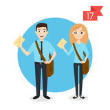 Profession characters: man and woman. Postman or mailman. Stock Photography
