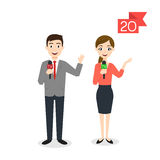 Profession characters: man and woman. Reporter or Journalist. Vector profession characters: man and woman. Reporter or Journalist Royalty Free Stock Images