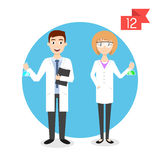 Profession characters: man and woman. Scientist. Royalty Free Stock Photo