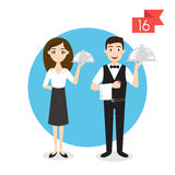 Profession characters: man and woman. Waiter. Stock Image