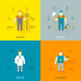 Profession characters 4x4 icons composition flat Royalty Free Stock Photography