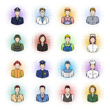 Profession comics icons set. Isolated on white background Stock Image